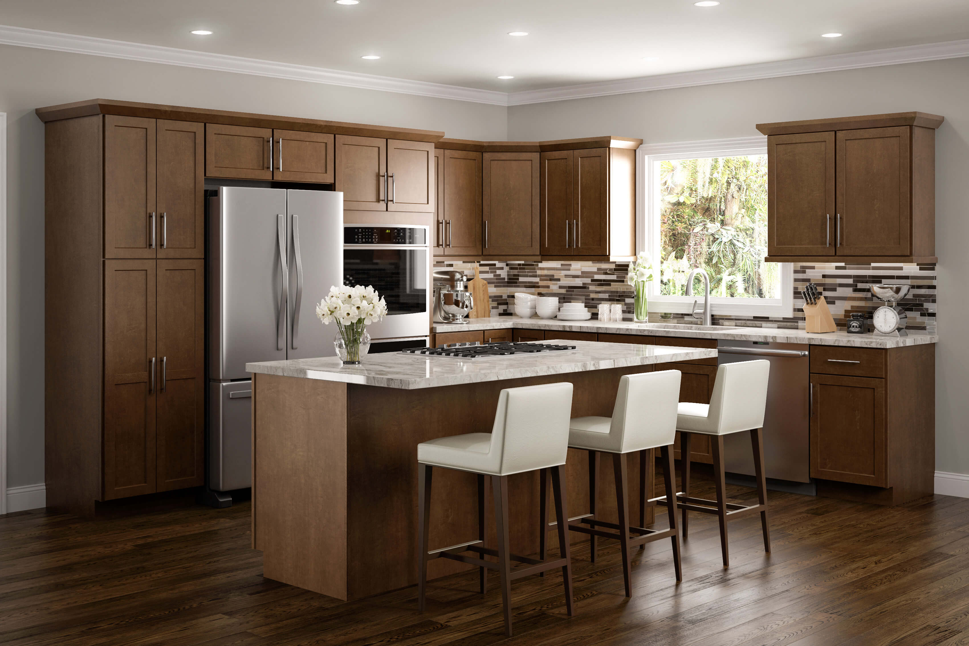 amesbury brown kitchen cabinets classic