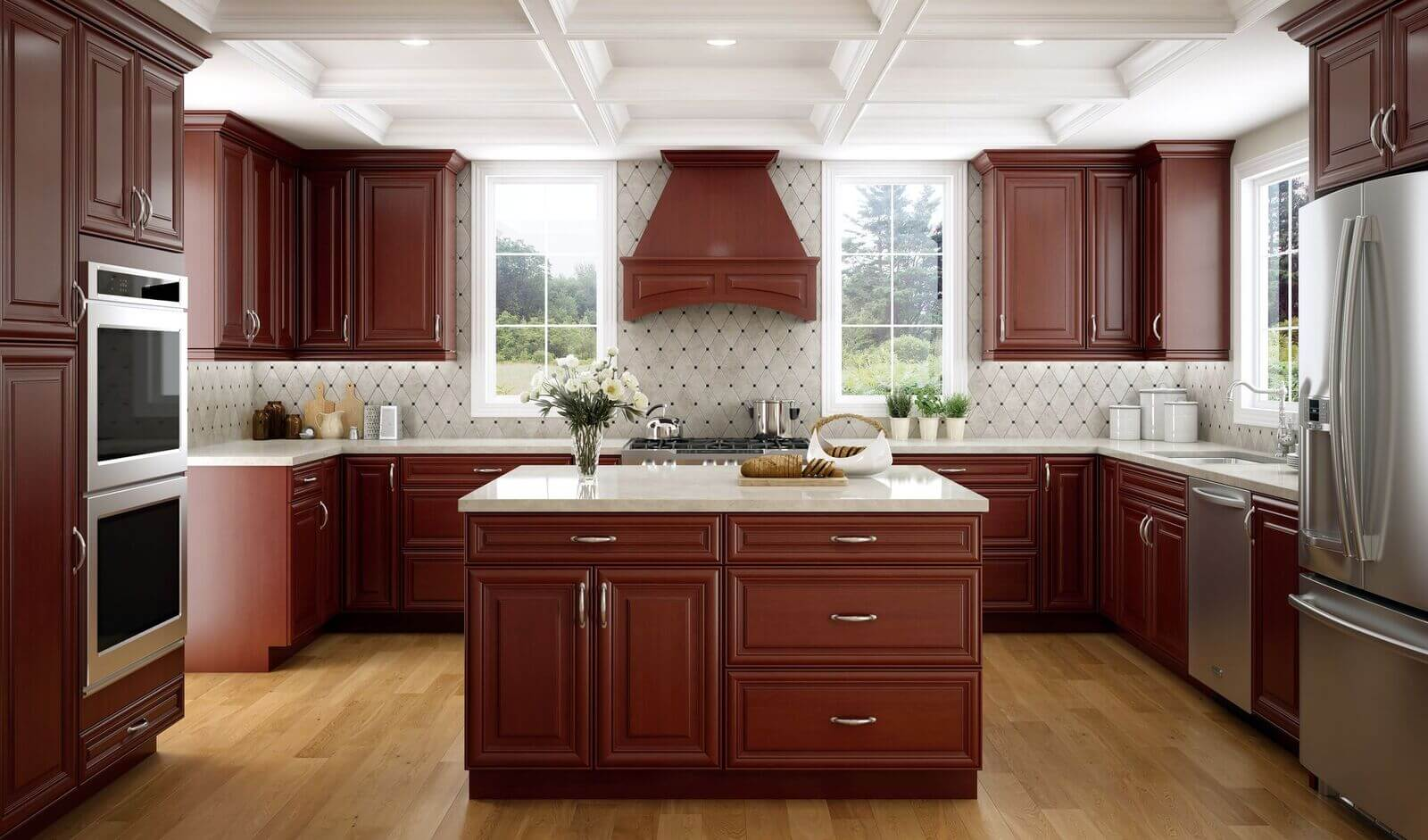 bourdeux brown elegant kitchen custom cabinets