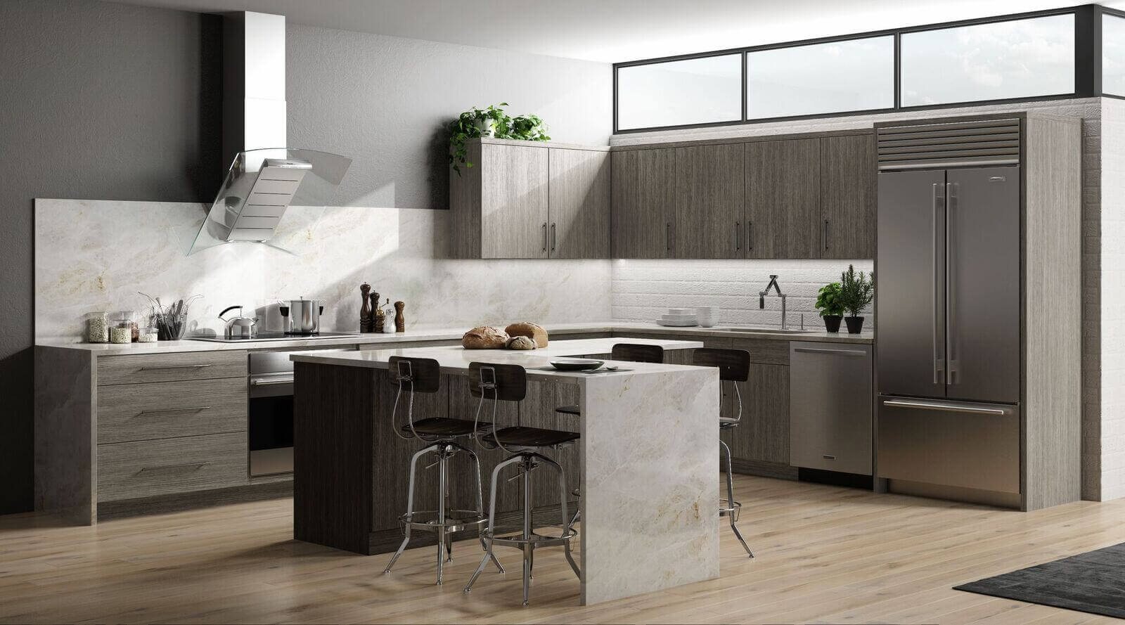 modern matrix grey corner kitchen