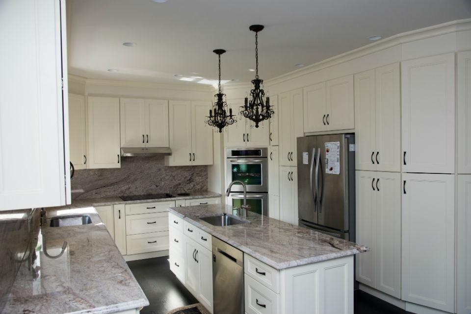 large white beautiful custom kitchen cabinets
