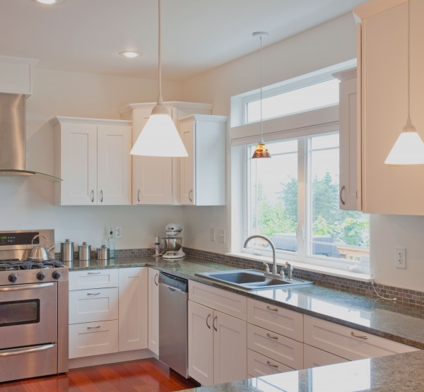 bright white custom kitchen cabinets