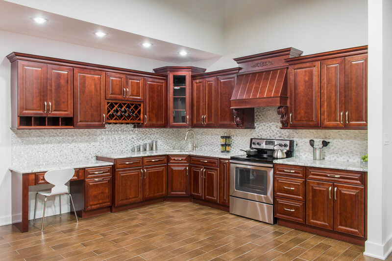mahogany finish cortland kitchen corner cabinets