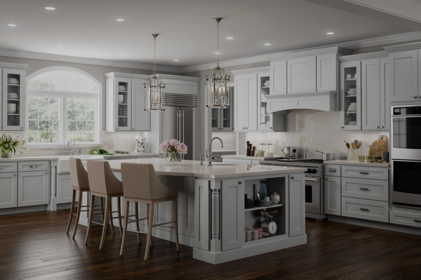 beautiful white elegant custom kitchen cabinets